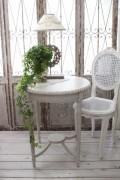 NEW♪ フランス家具 ティーテーブル・アンティークベージュ 机 円形 花台 飾り台 木製 シャビーシック アンティーク調