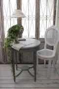 NEW♪ フランス家具 ティーテーブル・アンティークグレー 机 円形 花台 飾り台 木製 シャビーシック アンティーク調