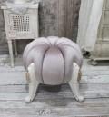 パンプキン型の可愛いスツール(ベルベットピンク) スツール 椅子 布張り シャビーシック アンティーク調 フレンチカントリ