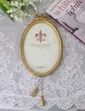 リボン&タッセルのフレーム飾り(L181)壁掛け フォトフレーム  可愛い アンティーク風 シャビーシック フレンチカントリー テ