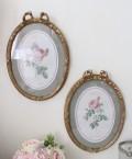 ルドゥーテ 薔薇の額絵(2種186・187)壁掛け 額縁 可愛い アンティーク風 シャビーシック フレンチカントリー テーブルクロッ