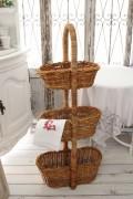 皮付きラタンのグルニエルバスケット(ベジタブル3段バスケット005)藤バスケット 収納 キッチン収納 野菜ストッカー フレンチカ