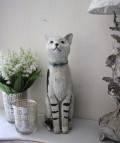 ★SALE・30★ 愛くるしい猫の置物(ストライプレッグ) ネコ雑貨 アンティーク 雑貨 アンティーク風 姫系 輸入雑貨  シャ