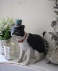 愛くるしい猫の置物(ストライプテール) ネコ雑貨 アンティーク 雑貨 アンティーク風 姫系 輸入雑貨  シャビーシック antique