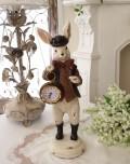 ハットラビット・クロック ウサギの置時計 置物 シャビー 北欧 フレンチ ロマンティック アリス 可愛い ロココ調 輸入