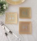 トリアノン・ガラス食器 ミニプレート3枚セット(スクエア) ガラス製 小皿 輸入食器 アンティーク風 アンティーク 食器 雑