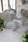 シャビーシック・バードゲージ(2サイズセット) アイアン製 鳥かご オブジェ 置物 フレンチカントリー アンティーク 雑貨