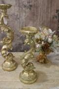 リーフキャンドルホルダーS(ゴールド) キャンドルスタンド シャビーシック フレンチカントリー アンティーク 雑貨 輸入雑貨
