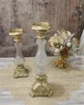 グラスキャンドルホルダーL(ゴールド) キャンドルスタンド シャビーシック フレンチカントリー アンティーク 雑貨 輸入雑貨