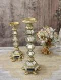 ★SALE・30★ ミラーキャンドルホルダーL(ゴールド) キャンドルスタンド シャビーシック フレンチカントリー アンティ