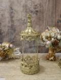ガラスキャニスター(ゴールド) グラスベース 蓋付 シャビーシック フレンチカントリー アンティーク 雑貨 輸入雑貨 antique