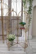 アンティーク風のお洒落なディスプレイスタンドM(ゴールド) 花台 棚 アイアン製 シャビーシック アンティーク 雑貨 アンティ