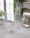 クリスタルチェーン・スクエアスタンド ガラス製 ディスプレイトレー おしゃれ シャビーシック アンティーク 雑貨 アンティー