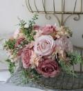 バラとアジサイのピンクブーケ 花束【シルクフラワー・アーティフィシャルフラワー】 花束 薔薇 造花 可愛い
