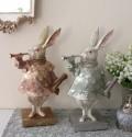 バロックラビット(ピンク・ブルー)ウサギの置物 アンティーク風 雑貨 シャビーシック フレンチカントリー 輸入雑貨 アンティー