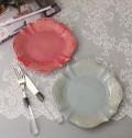 アンティーク風 食器 (トリアノン)ケーキプレート ケーキ皿 ブルー ローズ フレンチカントリー フレンチ食器 フランス 陶器 カ