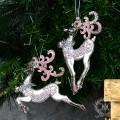 (SALE30)ツリーオーナメント(ベルトナカイ・ピンク2種セット8277)クリスマスツリー オブジェ クリスマス ディスプ