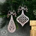 (SALE30)ツリーオーナメント(リボンドロップ・ピンク2種セット8268)クリスマスツリー オブジェ クリスマス ディス