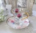 アンティーク風 フレンチ食器 フラワーシリーズ(ピオニー1361) ガラスカップ&ソーサー フレンチ食器 フランス アンティーク