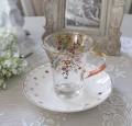 アンティーク風 フレンチ食器 フラワーシリーズ(フラワー1360) ガラスカップ&ソーサー フレンチ食器 フランス アンティーク