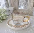 アンティーク風 フレンチ食器 フラワーシリーズ(レース1359) ガラスカップ&ソーサー フレンチ食器 フランス アンティーク調