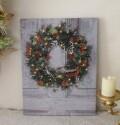 LEDウォールアート パネル グリーンリース 8109 クリスマス 額絵 壁飾り オブジェ ヨーロピアン アンティーク風 アンティーク 雑