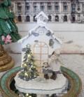 (SALE30) スノーウィハウス&コーラスガール LEDオブジェ  8513 クリスマス 飾り 置物 オブジェ ヨーロピアン アンティーク風 ア