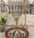 ジュエルフラワーカップスタンド/ショート 8565 クリスマス 飾り 置物 オブジェ ティーキャンドルホルダー ヨーロピアン アンテ