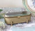 マキアージュ オーバル猫脚ボックス 8791 小物入れ アクセサリーケース アンティーク ゴールド 真鍮 お洒落 雑貨 アンティーク風