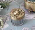 マキアージュ ミニグラスボックス ローズS 8789 小物入れ ガラスケース アンティーク ゴールド 真鍮 お洒落 雑貨 アンティーク風