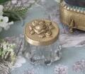 マキアージュ ミニグラスボックス ローズL 8788 小物入れ ガラスケース アンティーク ゴールド 真鍮 お洒落 雑貨 アンティーク風