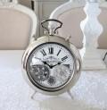 アンティークな歯車クロック 置時計 シルバー(8430)テーブルクロック アンティーク風 アンティーク 雑貨 姫系 輸入雑貨 シャビ