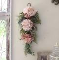 フラワーデコ・アジサイ ピンク(8396) 造花 壁掛け 紫陽花 スワッグ シルクフラワー アーティフィシャルフラワー ウォールデコ