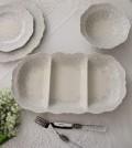 【La Ceramica V.B.C ラ・セラミカ イタリア】ディバイドプレート・3仕切り 長方形 皿 イタリア製 輸入食器 シャビーシック ア