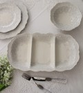 La Ceramica V.B.C ラ・セラミカ イタリア ディバイドプレート・3仕切り 長方形 皿 イタリア製 輸入食器 シャビーシック アンテ