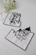 撥水リネン・コースター/ホテルリッツ・パリ (ホワイト×ブラック) イタリア製 布製 敷物 はっ水 テーブルコーディネート
