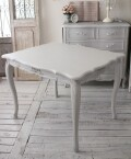 シャビーシック リュバンシリーズ ダイニングテーブル100cm (1691) テーブル 小型 木製 (白家具 ロココ調 姫系 姫家具 猫足 ア