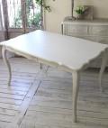 シャビーシック リュバンシリーズ ダイニングテーブル135cm (1692) テーブル 4人掛け 木製 (白家具 ロココ調 姫系 姫家具 猫足