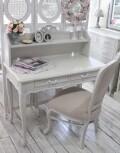 (予約注文品 1月)シャビーシック リュバンシリーズ デスク 2引き出し(1366) テーブル 机 木製 (白家具 ロココ調 姫系 姫家具