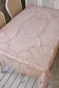 ビニール製 テーブルクロス (フレンチレース・150cmピンク3051) ビニールクロス 撥水 はっ水 レース柄 アンティーク風 フレンチ