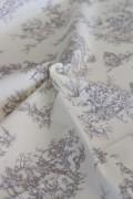 テーブルクロス ファブリック カルトナージュ カット販売 イギリス製 トワルドジュイ柄 輸入生地 カーテン生地 ホワイト×グレー