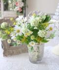 可憐なデージーブーケ ナチュラル 造花 可愛い ホワイト イエロー シルクフラワー アーティフィシャルフラワー インテリアフラワ