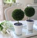 ミニトピアリー ホワイト ツゲ 柘植 トピアリー 造花 ナチュラル 可愛い 花 グリーン シルクフラワー アーティフィシャルフラワ