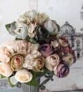 アンティークカラー ローズブーケ アンティーク風 シック 大人カラー 薔薇 紫陽花 造花 シルクフラワー アーティフィシャルフラ