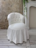 NEW♪♪ ロマンティックなファブリックチェア 【プリマ・ホワイト】 スツール 椅子 布張り シャビーシック アンティーク調