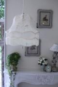 (SALE50) フランスレースの美しいランプシェード(オフホワイトM) 天井照明 布シェード ハンギングランプ アンティーク お洒