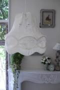 (SALE50) フランスレースの美しいランプシェード(オフホワイトL) 天井照明 布シェード ハンギングランプ アンティーク お洒