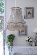 (SALE50) フランスレースの美しいランプシェード(エクリュベージュM) 天井照明 布シェード ハンギングランプ アンティーク