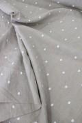 フランス製 STOF社 フレンチリネン 麻100% ベージュ×ホワイト刺繍ドット 水玉  輸入生地 カーテン生地 テーブルクロス ファブ