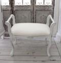 ヌードスツール・肘掛け付き (フレンチホワイト・猫足フレーム) 椅子本体 イタリア製 DIY スツール ドレッサーチェアー